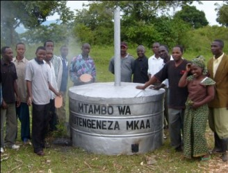 A charcoal kiln donated to a village in Southern Tanzania