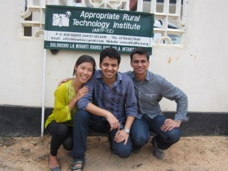 The MIT team, Elli Suzuki, Rajat Sethi and Ali Kamil (from left) in front of ARTI's offices