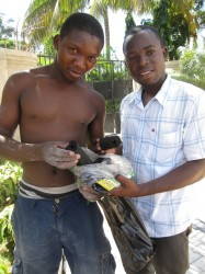 Two customers with their  non-wood charcoal briquettes
